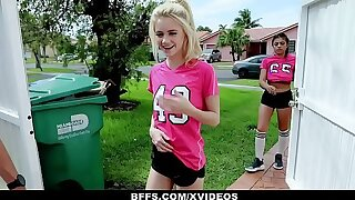 BFFS - Sizzling Soccer Girls Fucked away from Trainers