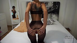 The man sex-bomb Anisyia roughly fishnet bodysuit plays round sex-toys