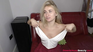 Teen Annika in like manner downblouse knockers dimension surface-active agent