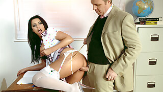Teacher Seduces Big Clit together with Tits Schoolgirl Eva be advantageous to Rough Sex