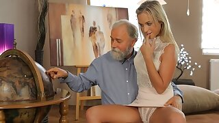 OLD4K. Shanie has a crush on her grey-bearded geography teacher
