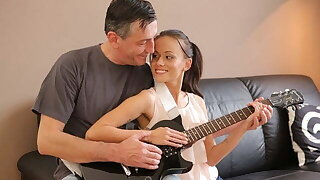 OLD4K. Superannuated musician plays guitar for teen babe then he fucks their way