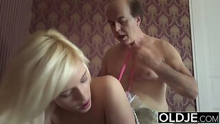 Pprincess coition doll fucks old man, blowjob and bushwa