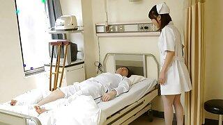 Japanese nurse Reina Wamatsu rubs dick, uncensored