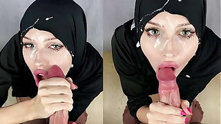 Muslim old bag object cum all over her face